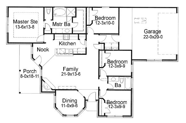 Этот привлекательный проект одноэтажного дома  площадью  до 150 кв.м с гаражом на 2 машины и с 4 спальнями подходит для постоянного проживания.