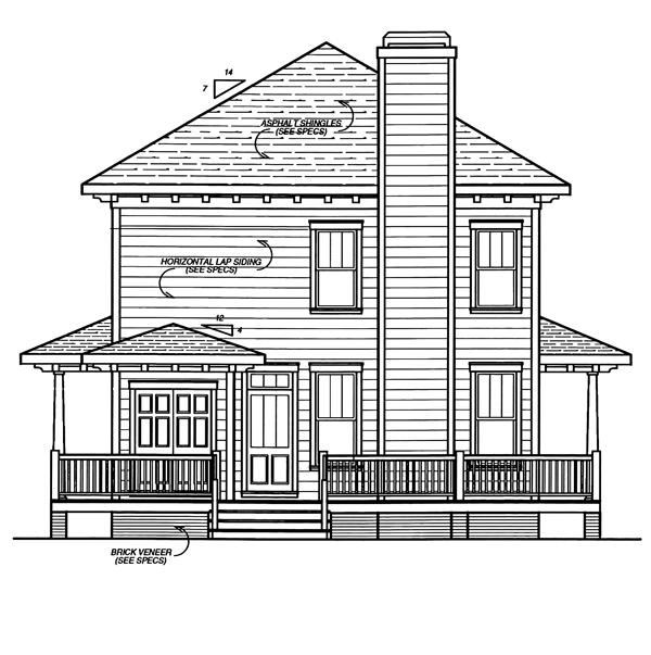 Вид сзади Проект простого двухэтажного дома окруженного террасой