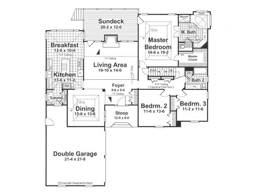 План 1 этажа Проект одноэтажного дома с цокольным этажом, террасой и выступающим гаражом