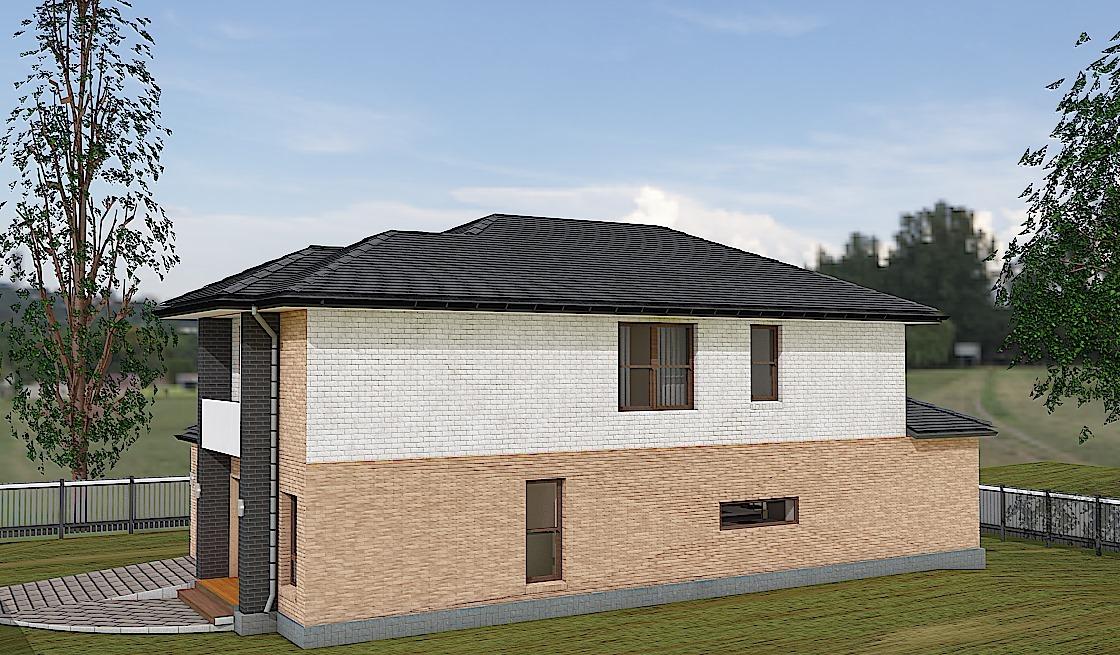 Проект двухэтажного дома Коралл - правый фасад