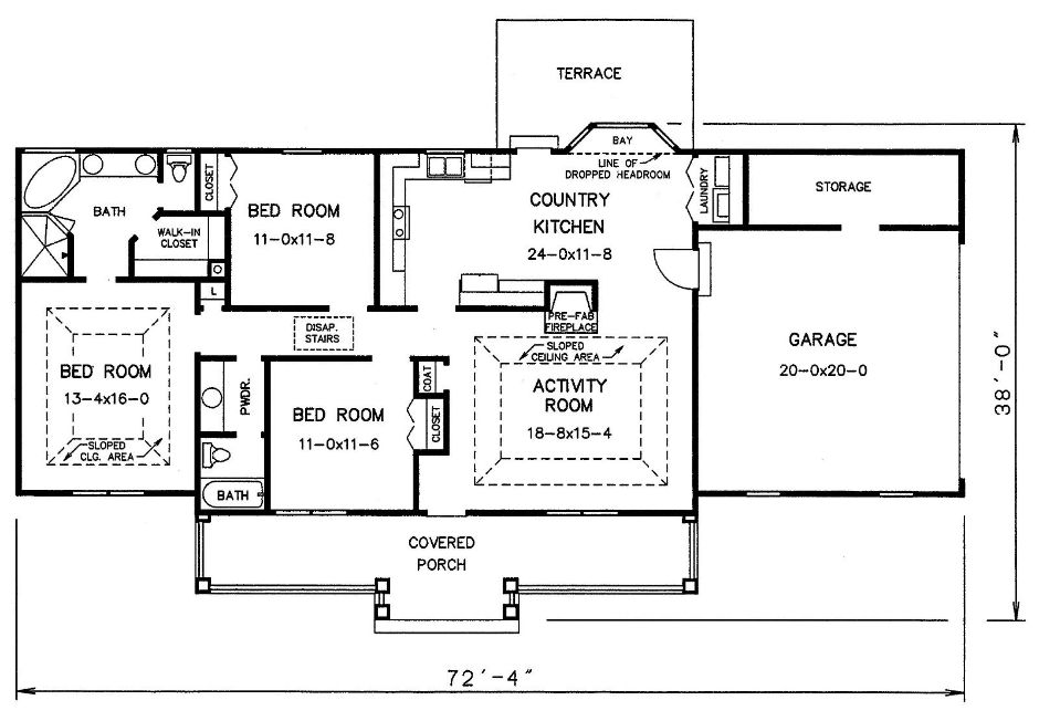 Этот прекрасный проект одноэтажного дома 11 метров площадью  до 150 кв.м с гаражом на 2 машины и с 3 спальнями подходит для постоянного проживания. В большой спальне есть ванная. Также перед домом есть веранда..