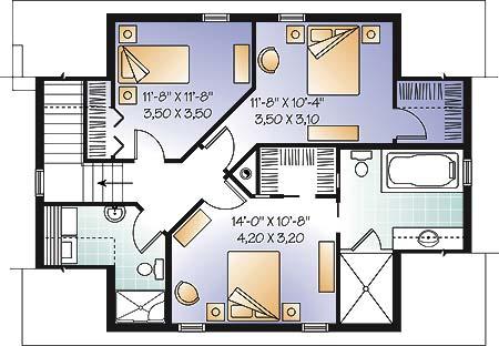 План 2 этажа План одноэтажного дома 10x8 с мансардой для экономного строительства
