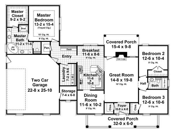 Этот красивый проект одноэтажного дома в европейском стиле площадью  до 200 кв.м с гаражом на 2 машины и с 3 спальнями подходит для постоянного проживания. В большой спальне есть ванная. Также перед домом есть веранда..