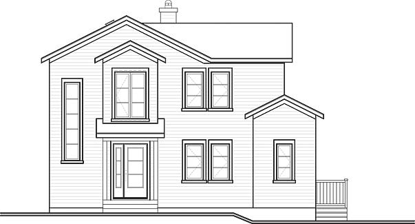 This home perfectly suited for a sloping lot. This house facade has mixed materials, panoramic windows, skylight windows and faced with horizontal siding, stucco. A gable roof, a complex roof with large front facing gables completes the look of this house. Designed for a narrow lot, the home is less than 34' wide, and provides 1754 square feet of living space in addition to a one-car garage Space includes with a staircase to the upper level, with a staircase to the basement, Great Room, an entry to the deck, a Dining Room, with sliding glass doors leading to the rear deck, a Kitchen, with a walk-in pantry, the Master Bedroom, with a five pieces bathroom, with a walk-in closet. An open layout maximizes the use of the living space. The upper floor has 733 square feet of living space and features all bedrooms with walk-in closets, Secondary Bedrooms, with large hall bathroom with bathtub and shower, laundry closet, home theater, a bonus room. In thise house there is a walk-out basement where you will find with an entry to the covered patio, laundry, utility room, storage room, wine celar. Outdoor living space includes recessed entry porch, wrap around porch, a front balcony.