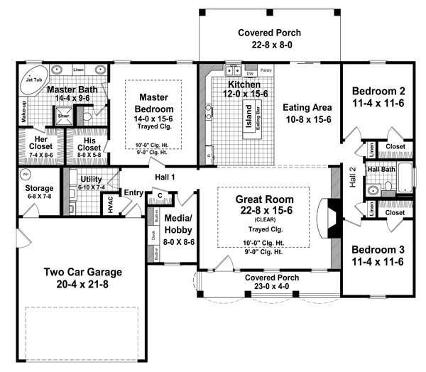 Отличный проект одноэтажного дома в английском стиле площадью  до 200 кв.м с гаражом на 2 машины и с 3 спальнями подходит для постоянного проживания. В большой спальне есть ванная. Также перед домом есть веранда..