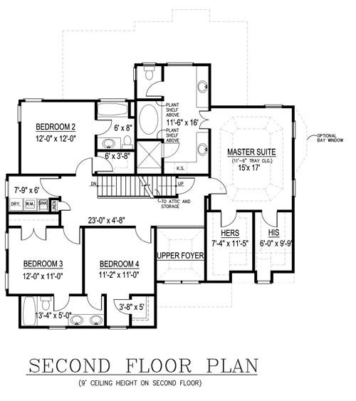 План 2 этажа План 2-этажного дома 13x16 JL-1427-2-5