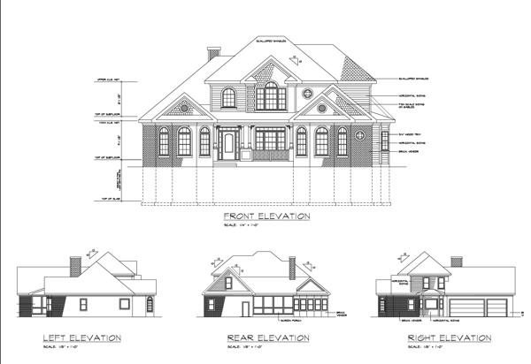 Фасады Двухэтажный дом с двумя эркерами KD-6247-2-4