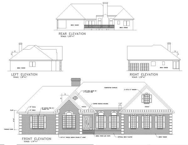 This Tudor house facade has mixed materials, decorative trim, corners decorated with limestone quoins, windows with nice shatters, transom windows, gable windows and faced with brick, stucco. A complex roof with large front facing gables completes the look of this house. House plan is 69 feet wide by 46 feet deep and provides 2208 square feet of living space in addition to a two-car garage Space includes an airlock entry foyer, Great Room, with a cozy fireplace, an entry to the deck, a Dining Room, with sliding glass doors leading to the rear deck, a Kitchen, with a walk-in pantry, with a peninsula eating, the Master Bedroom, with a five pieces bathroom, with a walk-in closet, additional Bedrooms, with hall bathroom, the home office is located next to the entrance, a laundry, utility room, a storage room. Outdoor living space includes a front porch with a supportive wooden column.