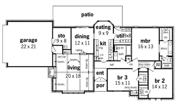 План 1 этажа План 1-этажного дома KD-8330-1-3 162 кв м
