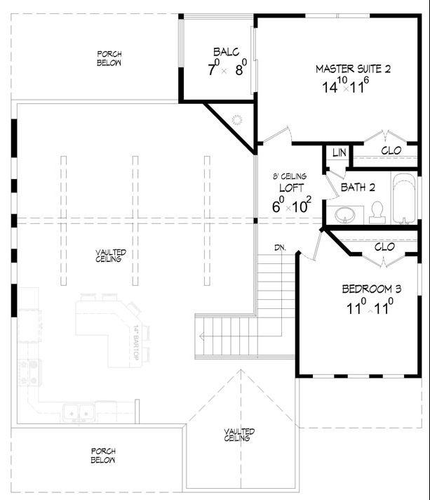 Этот красивый проект одноэтажного каркасного дома с мансардой площадью  до 200 кв.м с 3 спальнями подходит для постоянного проживания. Гостиная со вторым светом и наклонным потолком. В большой спальне есть ванная. Также перед домом есть веранда..