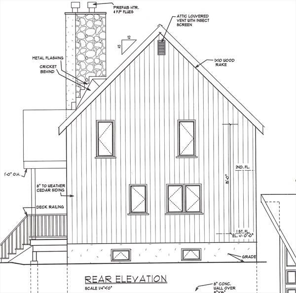 Вид сзади Проект одноэтажного дома с мансардой 8x14 в стиле шале