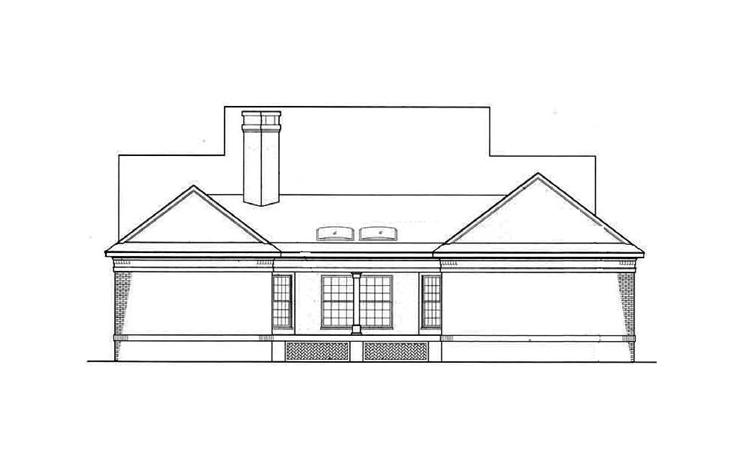 Вид сзади План 1-этажного дома с верандой и внутренним двориком