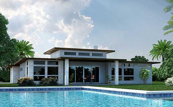 Этот симпатичный проект одноэтажного дома в современном стиле площадью  до 250 кв.м с гаражом на 2 машины и с 3 спальнями подходит для постоянного проживания. В большой спальне есть ванная и гардеробная комната. Также перед домом есть веранда..