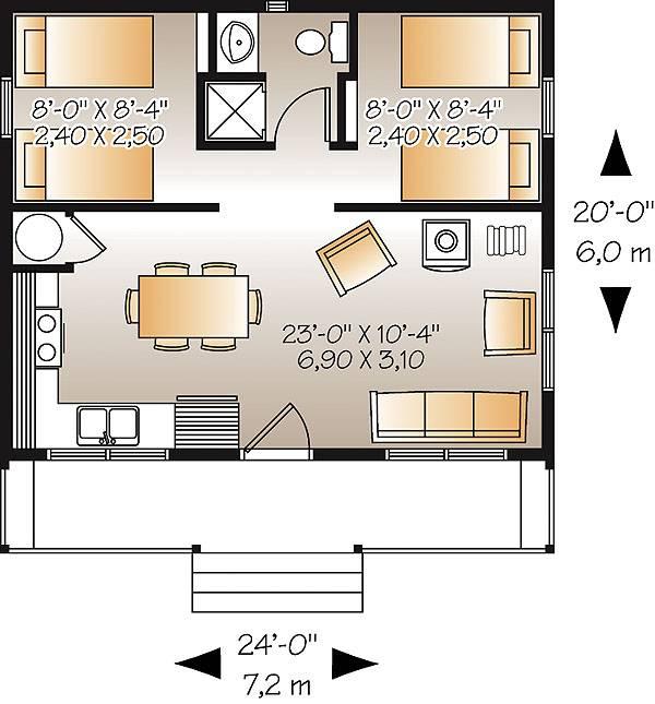 План одноэтажного дома 6 на 7 метров с верандой и 2 спальнями площадью  до 50 кв.м с односкатной крышей подходит  для дачи и  строительства дома с цокольным этажом на участке с уклоном.