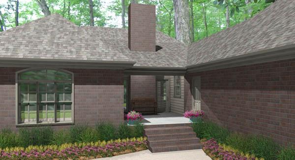 Вид сзади Проект одноэтажного дома П-образной формы с верандами