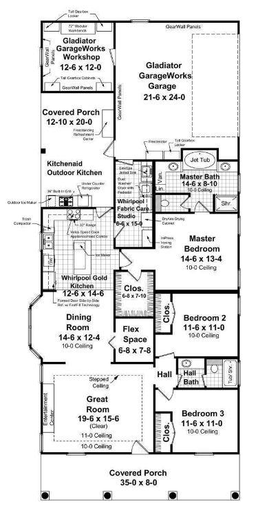 План 1 этажа Проект кирпичного дома с узким фасадом и мастерской в гараже