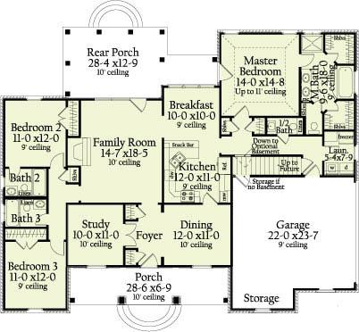 Этот удобный проект одноэтажного дома  площадью  до 200 кв.м с гаражом на 2 машины и с 3 спальнями подходит для постоянного проживания. В большой спальне есть ванная. Также перед домом есть веранда..