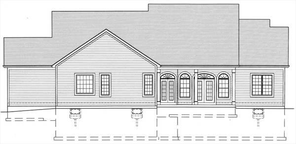 Вид сзади Проект дома в стиле кантри с двумя верандами и двумя гаражами