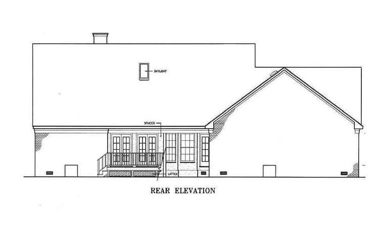 Вид сзади План 1-этажного дома с кабинетом около спальни