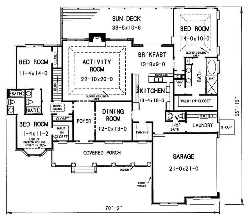 План 1 этажа План 1-этажного дома 21x20 220 кв м