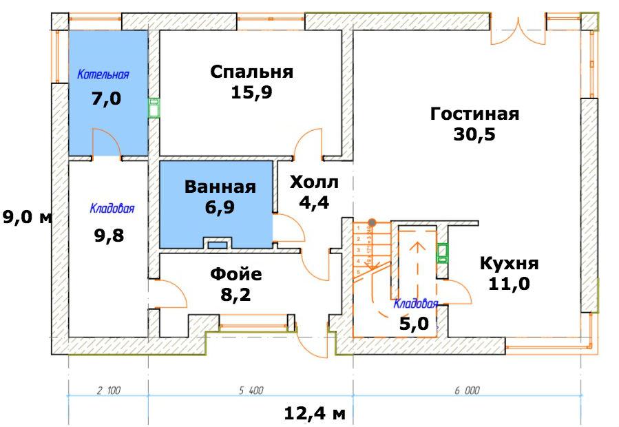 Интересный проект двухэтажного дома в современном стиле из поризованного кирпича площадью  до 200 кв.м  4 спальнями подходит для постоянного проживания.