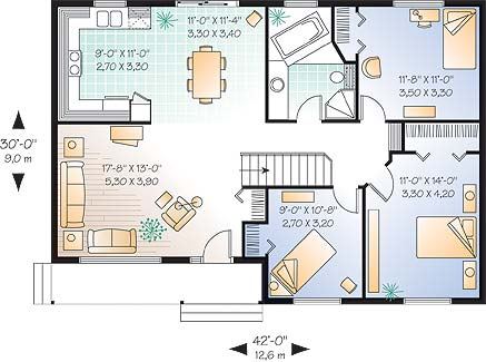 Этот популярный проект одноэтажного дома в финском стиле 12 на 9 метров площадью  до 150 кв.м с 3 спальнями подходит для постоянного проживания. В большой спальне есть ванная. Также перед домом есть веранда..