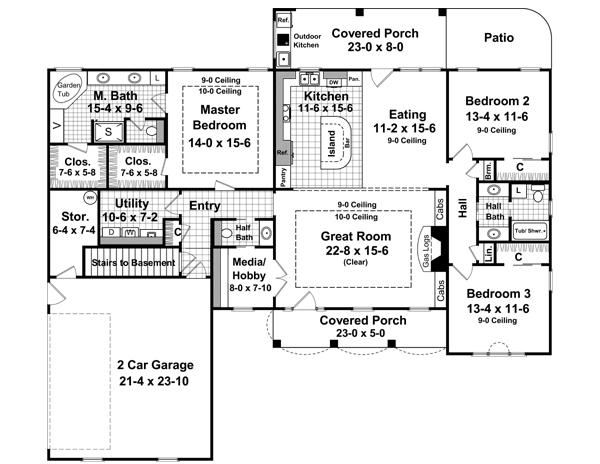 Этот симпатичный проект одноэтажного дома в стиле прованс площадью  до 200 кв.м с гаражом на 2 машины и с 3 спальнями подходит для постоянного проживания. В большой спальне есть ванная. Также перед домом есть веранда..