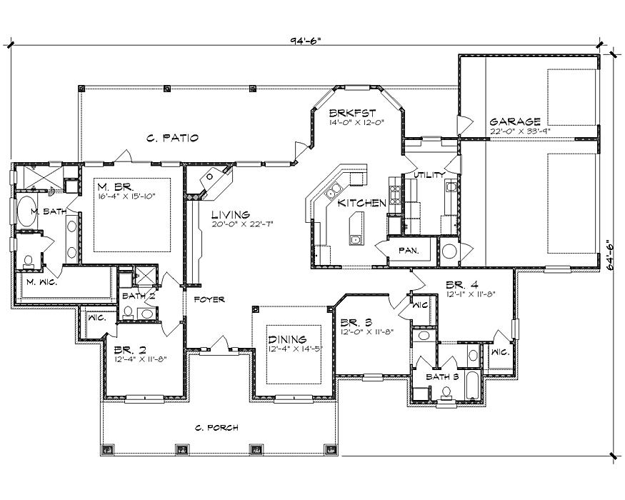 План 1 этажа Проект одноэтажного дома в американском стиле с верандой и слуховыми окнами на крыше