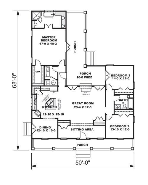 Этот популярный проект одноэтажного дома  площадью  до 200 кв.м с гаражом на 2 машины и с 3 спальнями подходит для постоянного проживания. В большой спальне есть ванная. Также перед домом есть веранда..