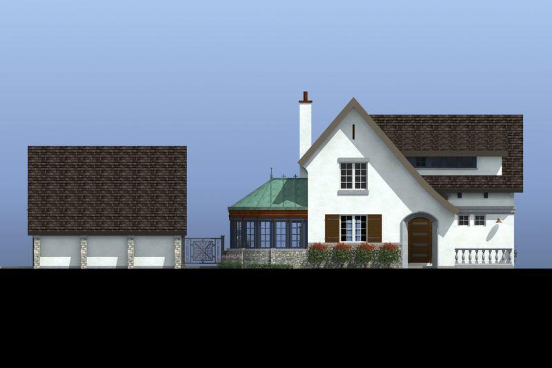 Фасад со двора Проект эксклюзивного дома для Сибири с асимметричной крышей