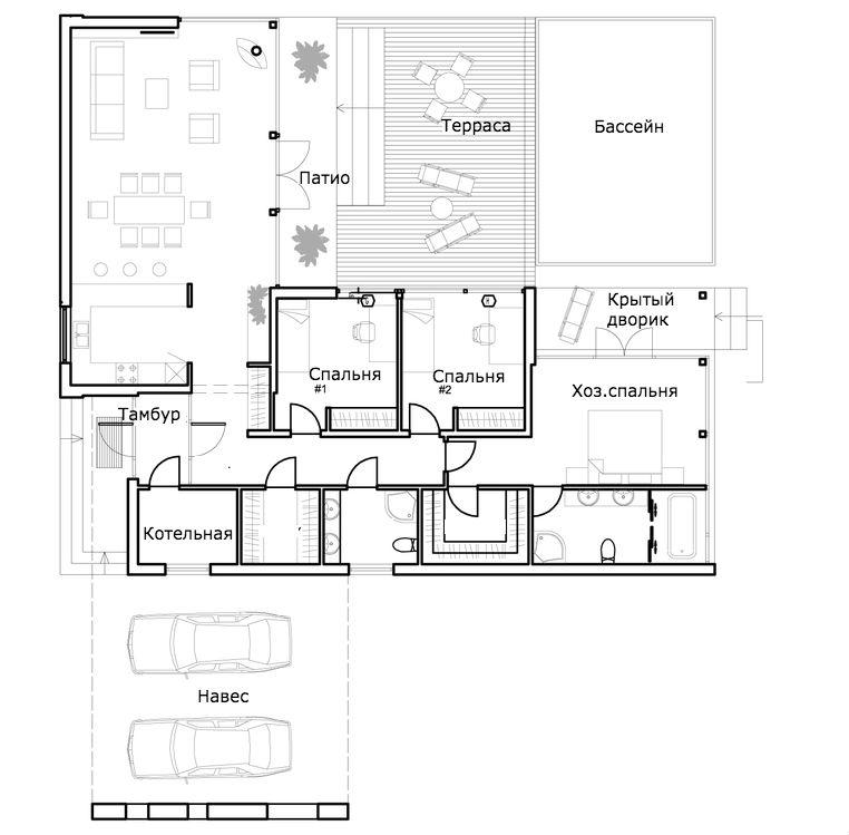 Этот привлекательный проект одноэтажного дома в современном стиле площадью  до 150 кв.м с гаражом на 2 машины и с 3 спальнями подходит для постоянного проживания. В большой спальне есть ванная и гардеробная комната. В проекте дома есть терраса..