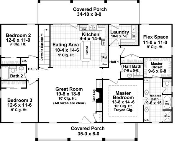 План 1 этажа Проект одноэтажного дома прямоугольной формы с верандами с двух сторон