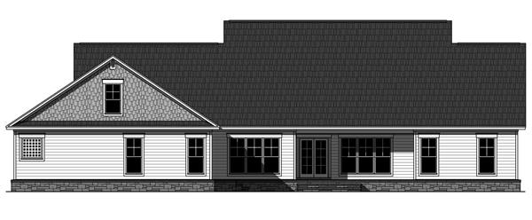 Проект одноэтажного дома с большим гаражом и верандами спереди и сзади, а также с 4 спальнями. Фундамент с подвалом. Открытая планировка с парадной столовой и кабинетом.