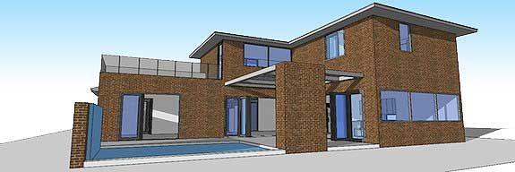 Фото 6 Проект дома из газобетона П-образной формы с театром, бассейном и террасой на втором этаже