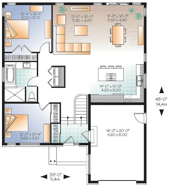 Этот практичный проект одноэтажного дома в современном стиле  площадью  до 150 кв.м с гаражом и с 2 спальнями подходит для постоянного проживания. В большой спальне есть ванная. Также перед домом есть веранда..