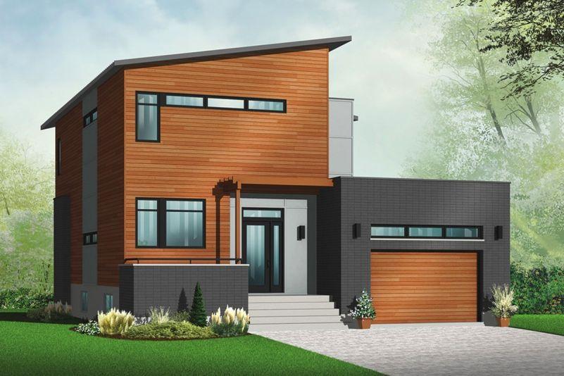 Этот симпатичный проект двухэтажного каркасного дома в современном стиле 11 на  площадью  до 200 кв.м с гаражом и с 3 спальнями подходит для постоянного проживания.