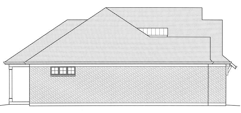 Вид слева Проект дома в стиле Прованс с вальмовой крышей и выступающим гаражом