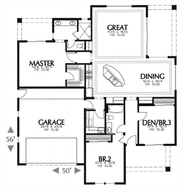 План 1 этажа Проект дома MD-6877-1-3 в испанском стиле 153 кв м с гаражом и 3 спальнями