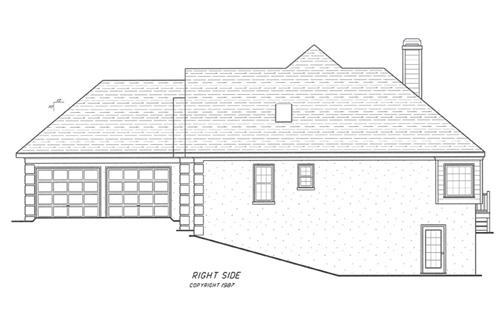 Вид справа Проект одноэтажного дома с цокольным этажом, террасой и выступающим гаражом