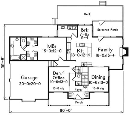 План 1 этажа Проект одноэтажного дома с мансардой и верандой перед домом