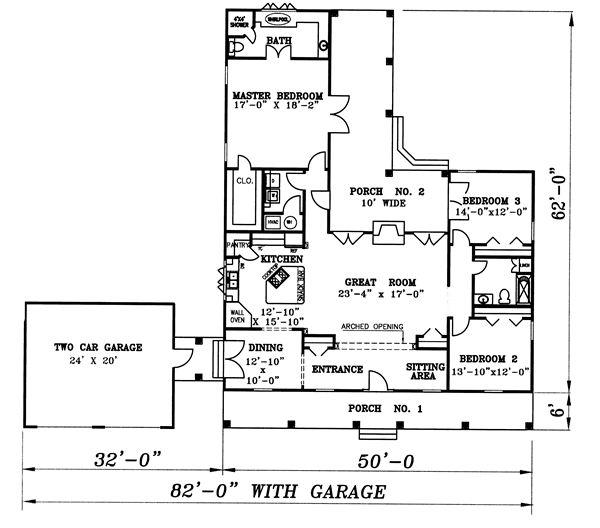Этот симпатичный проект одноэтажного дома  площадью  до 200 кв.м с гаражом на 2 машины и с 3 спальнями подходит для постоянного проживания. В большой спальне есть ванная. Также перед домом есть веранда..