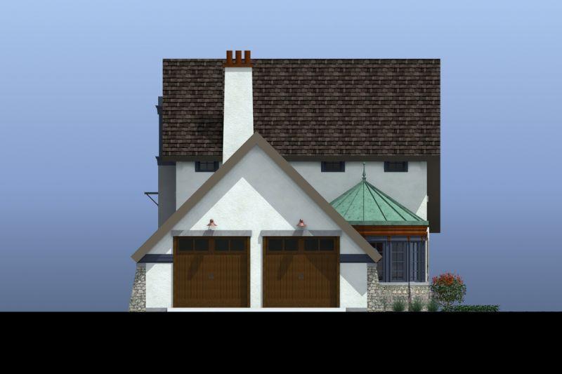 Фасад со стороны гаража Проект эксклюзивного дома для Сибири с асимметричной крышей