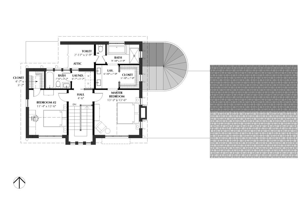 План 2 этажа Проект эксклюзивного дома для Сибири с асимметричной крышей