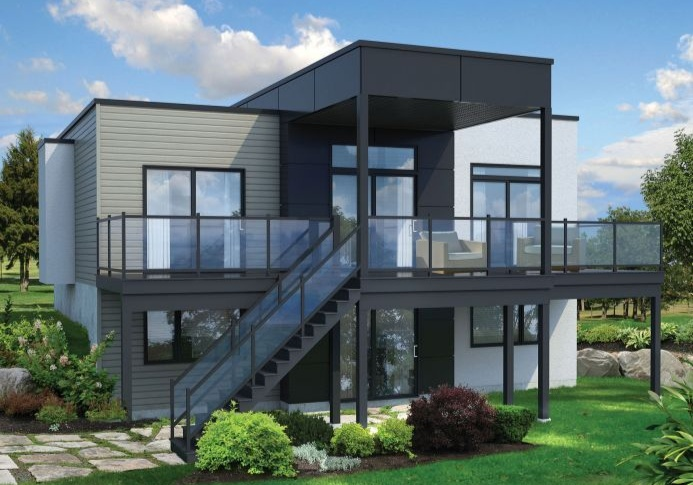 Plan Pm 80780 1 2 One Story 2 Bedroom Modern House Plan With Walk Out Basement And Large Deck