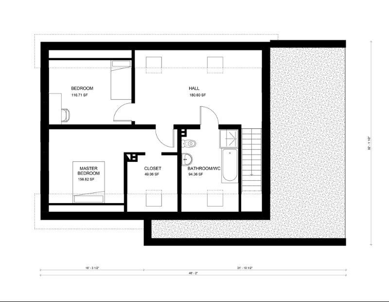 Этот симпатичный проект одноэтажного дома с мансардой в европейском стиле 8 на  площадью  до 200 кв.м с гаражом и с 2 спальнями подходит для постоянного проживания.