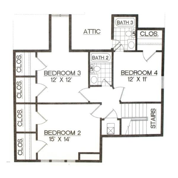 План мансарды Проект красивого дома в стиле кантри с 4 спальнями и гаражом