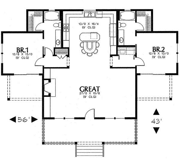 План 1 этажа План одноэтажного дома с огромной гостиной большой кухней и верандой