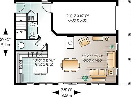 План 1 этажа План одноэтажного дома 10x8 с мансардой для экономного строительства