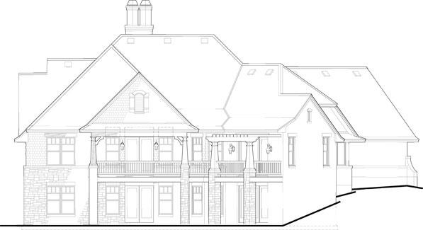 Этот удобный проект двухэтажного каркасного дома площадью  до 250 кв.м с гаражом на 2 машины и с 4 спальнями подходит для строительства дома с цокольным этажом на склоне.