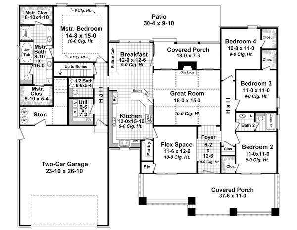 Этот симпатичный проект одноэтажного дома в стиле кантри площадью  до 250 кв.м с гаражом на 2 машины и с 4 спальнями подходит для постоянного проживания. В большой спальне есть ванная. Также перед домом есть веранда..